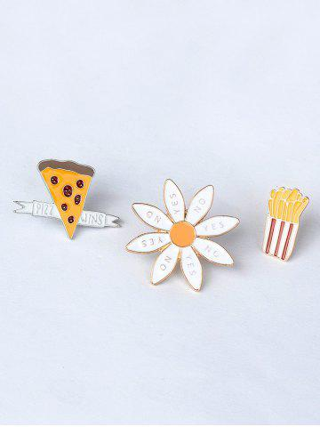 Chic Letter Floral Cheese Cactus Brooch Set - GOLDEN  Mobile