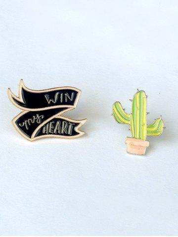 Hot Letter Floral Cheese Cactus Brooch Set - GOLDEN  Mobile