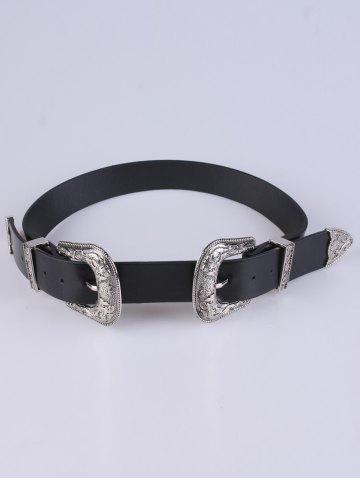 Adjustable Double Buckle Belt - Silver - 38
