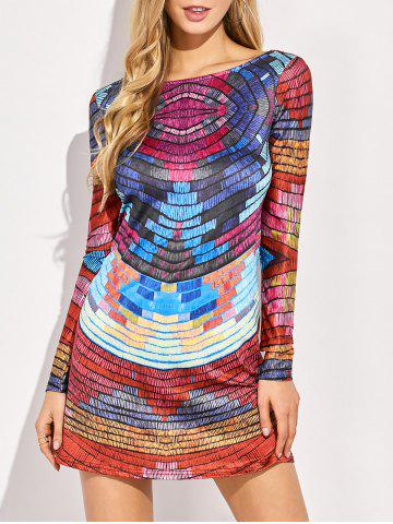 Discount Long Sleeve Back Low Cut Tie-Dyed Striped Colorful Dress
