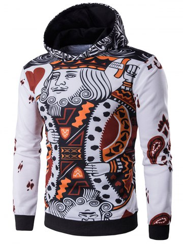 Discount 3D Poker King Print Pullover Hoodie WHITE 2XL