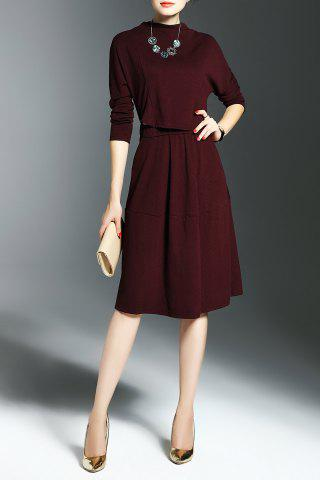 Cheap Self Tie Knit Popover Dress BURGUNDY S
