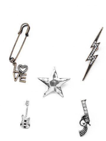 Hot Guitar Gun Rhinestone Star Brooch Set SILVER