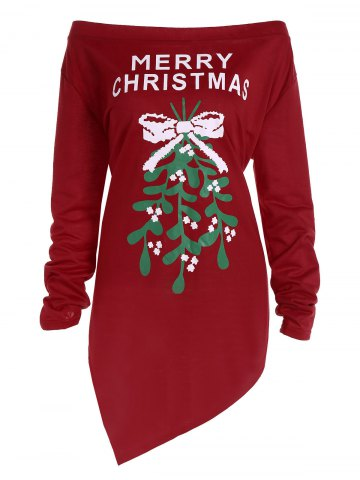 Fancy Plus Size Off The Shoulder Asymmetric Christmas T-Shirt
