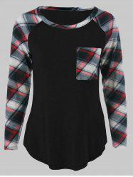 Plus Size One Pocket Plaid Sleeve T-Shirt - BLACK