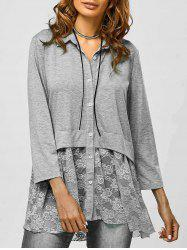 Lace Trim Smock Blouse -