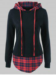 Drawstring Plaid Plus Size Hoodie - RED WITH BLACK