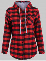Plaid Pocket Design Buttoned Black Red Hoodie - RED WITH BLACK