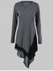 Plus Size Chiffon Trim Asymmetrical Long Sleeve Dress - GRAY