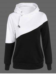 Two Tone Plus Size Jumper Hoodie - BLACK