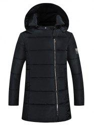 Side Zip Up 79 Patch Quilted Hooded Coat - BLACK 3XL