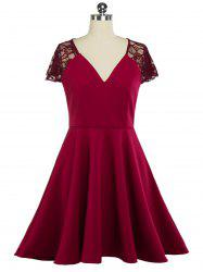 Plunging Neck Lace Panel Swing Skater Dress - WINE RED 2XL