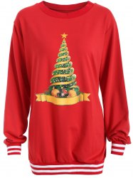 Christmas Tree Varsity Striped Sweatshirt -