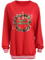 Christmas Graphic Varsity Striped Sweatshirt