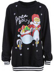 Santa Print Varsity Striped Christmas Sweatshirt