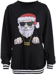 Christmas Santa Print Varsity Striped Sweatshirt - BLACK