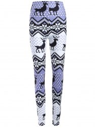 Plus Size Ornate Elk Printed Christmas Leggings - LIGHT PURPLE