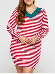 Plus Size Flounced Neck Striped Dress
