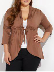 Slimming Drawstring Asymmetric Jacket - COFFEE