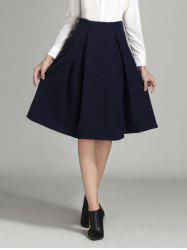 Wool Ruched A Line Circle Skirt -