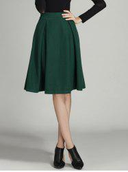 Wool Ruched A Line Circle Skirt - BLACKISH GREEN