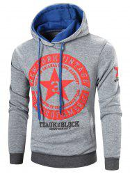 Star Printed Color Block Pullover Hoodie - LIGHT GRAY