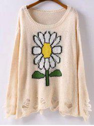 Long Sleeve Sunflower Jacquard Ripped Sweater -