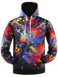 Colorful Paint Splatter Kangaroo Hoodie Pocket - Noir