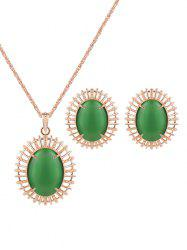 Vintage Oval Fake Opal Jewelry Set -