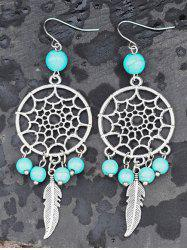 Faux Turquoise Hollow Out Feather Earrings -