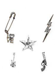 Guitar Gun Rhinestone Star Brooch Set