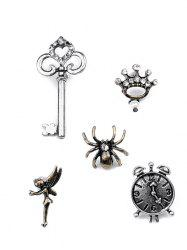 Key Crown Clock Spider Elf Brooch Set