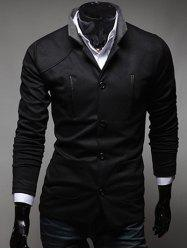 Slim Fit Stand Collar Button Up Pocket Jacket  - BLACK