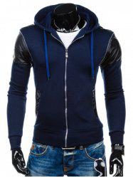 Faux Leather Insert Zip Up Hoodie -