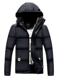 Pocket Zip Up Flocking Hooded Padded Jacket