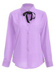 Shirt Neck Bowknot Loose Shirt