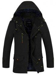 Button Tab Cuff Multi Pocket Zippered Hooded Jacket -