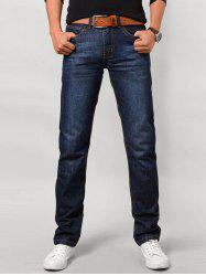 Straght Leg Zip Fly Flap Pocket Jeans