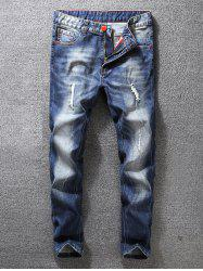 Zip Fly Distressed Tapered Jeans -