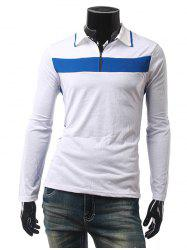 Contraste Panel Zip Up Polo T-Shirt -