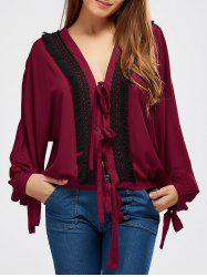 Back Slit Crochet Lace Up Blouse