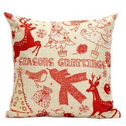Xmas Elk Tree Cushion Pillow Cover Christmas Home Decoration - BEIGE AND RED