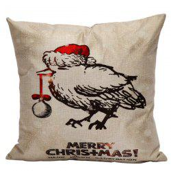 Cartoon Merry Christmas Linen Throw Bed Pillow Cover
