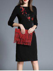 Floral Embroidered Sheath Dress -