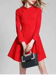 Long Sleeve Mini Qipao Skater Dress -
