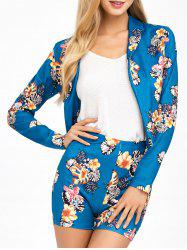 Flower  Suit Jacket With Patterned Shorts - LAKE BLUE