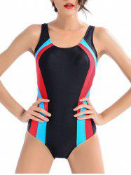 Color Block Cut Out One-Piece Swimwear