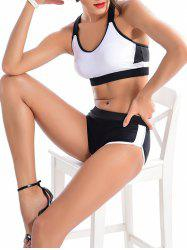 Color Block Criss-Cross Sporty Bikini Set