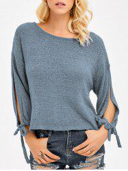 Slit Sleeve Crop Knitwear - BLUE GRAY