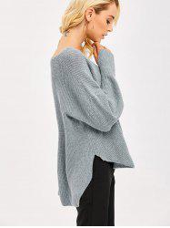 Slit Cuff High Low Sweater - GRAY ONE SIZE(FIT SIZE XS TO M)